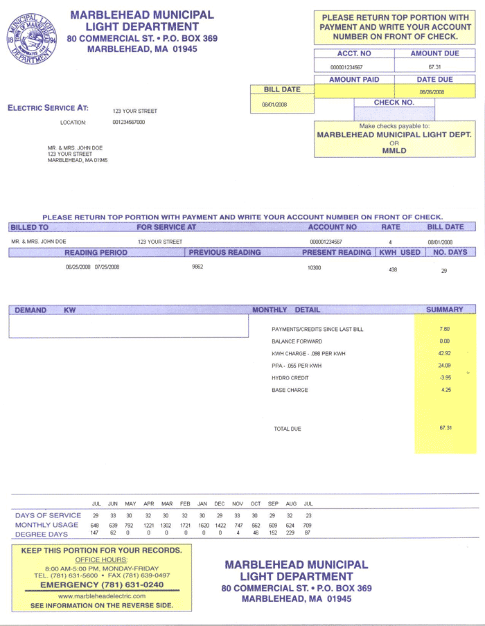 Sample MMLD Electric Bill
